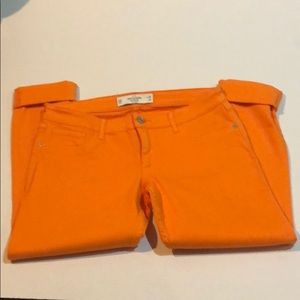 Abercrombie & fitch orange jean capri's